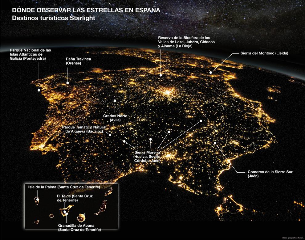 Esta infografía muestra las localizaciones de los destinos turísticos escogidos por la fundación Starlight en España.