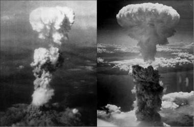 """<p/>Nubes de hongo sobre Hiroshima (izquierda) y Nagasaki (derecha) tras la explosión de las bombas atómicas"""" /><span style="""