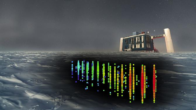 Representación del evento de neutrinos IC170922 en IceCube, donde se detectó una de estas partículas muy energéticas- IceCube Collaboration/NSF