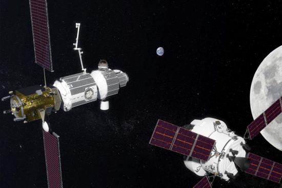 Representación artística de la futura pasarela lunar Gateway de la NASA / NASA