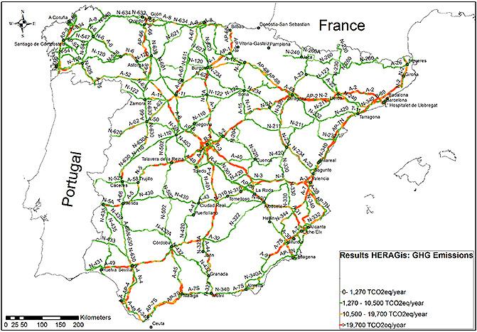 Mapa De España Carreteras.Nuevo Mapa De Emisiones De La Red De Carreteras De Espana