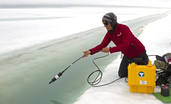 Putting hydrophone in ice crack Northwest Passage Pic by GF FEATURED_ed