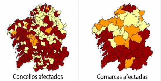 """Resultados a partir de concentraciones de 200Bq/m3. Amarillo claro <5%, amarillo oscuro entre 5% y 10%, rojo/>10%"""" style="""""""" /><span style="""