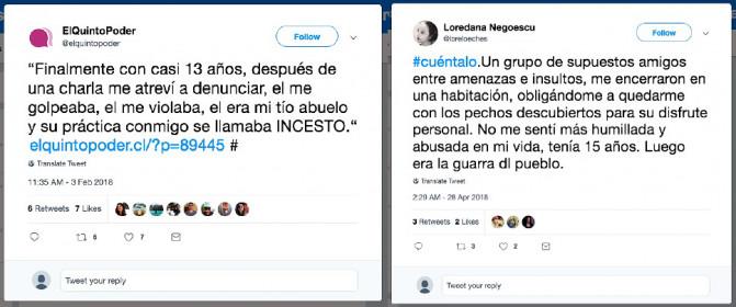 Testimonios publicados en Twitter bajo el hashtag #Cuéntalo