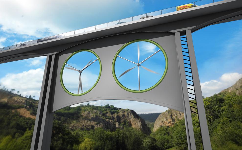 Propuesta para instalar dos turbinas eólicas iguales bajo un viaducto. / José Antonio Peñas (Sinc)