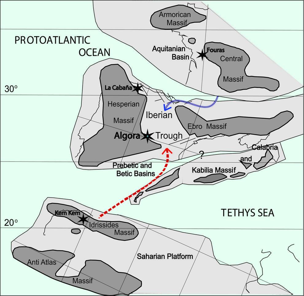 Mapa paleogeográfico con la situación del yacimiento durante el Cenomaniense. Imagen: Manuel Segura