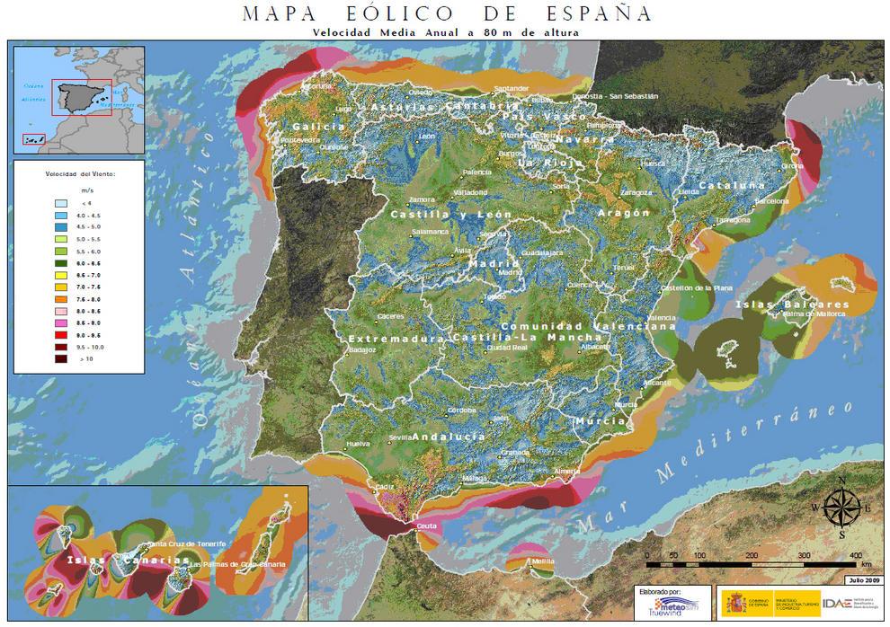 Atlas Eólico de España.
