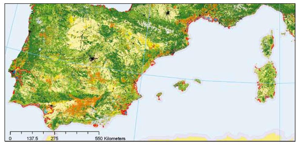 Mapa de los humedales costeros de los sistemas socio-ecológicos del Mediterráneo.