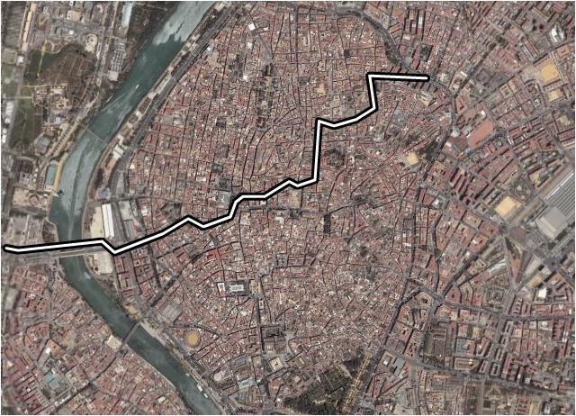 Una posible alternativa para la línea 2 del metro de Sevilla entre Puerto Triana y el Hospital de la Cruz Roja.