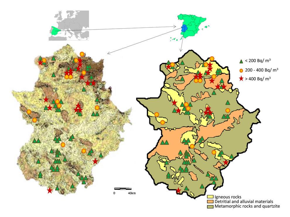 Resultados de concentraciones de radón sobre en el mapa de radiación natural gamma en Extremadura (a), y en el mapa geológico (b). Imagen: A. Martín Sánchez et al./UEX.