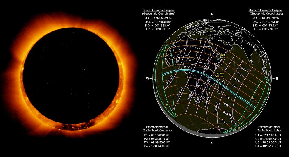 El eclipse solar anular del 1 de septiembre se verá en las selvas de África y parcialmente en Canarias. / NASA