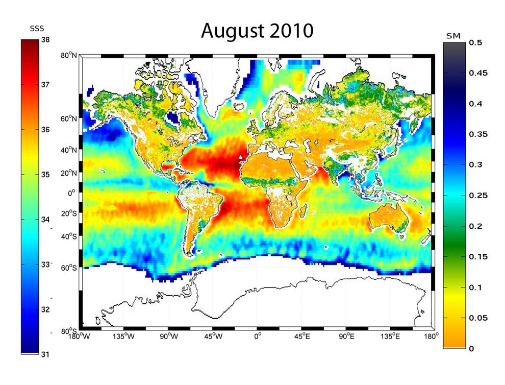 Primer mapa global de la humedad del suelo y de la salinidad de los océanos con datos tomados por SMOS en agosto de 2010.