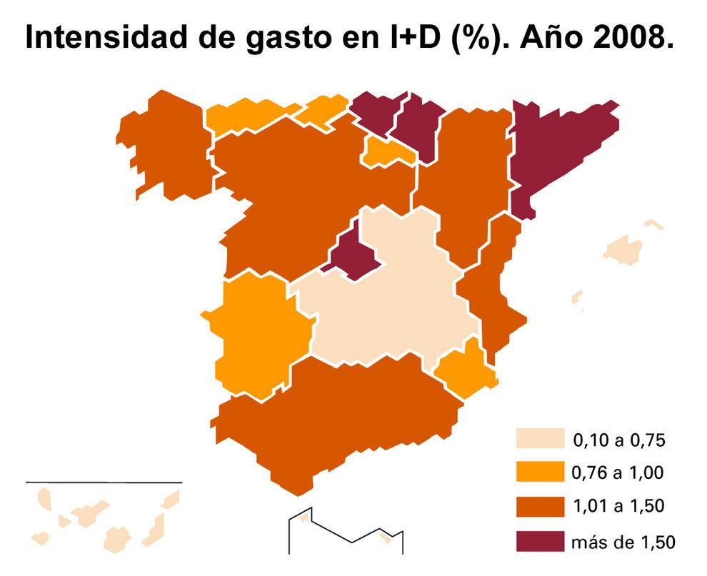 Intensidad del gasto de I+D+i en España en 2008.