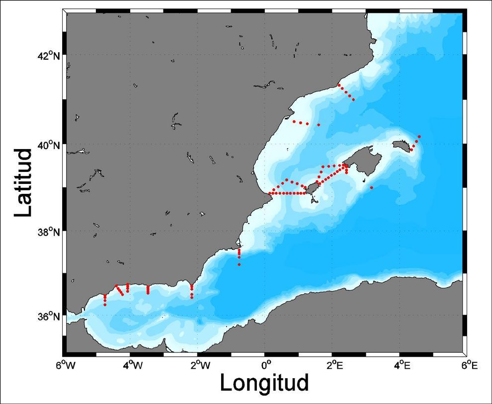 Mapa de estaciones oceanográficas visitadas cuatro veces al año para el seguimiento de la temperatura, la salinidad y diversas variables bioquímicas, y comprobar sus alteraciones en el Mediterráneo.