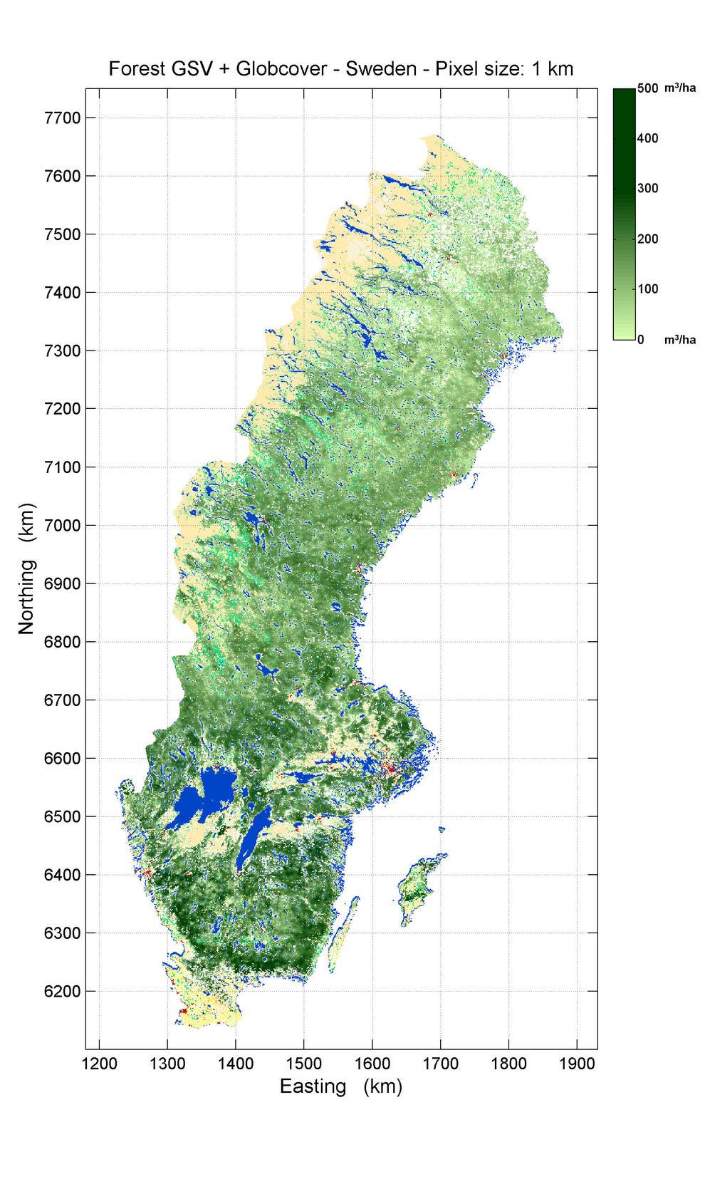Volúmen de reserva de crecimiento forestal en Suecia, obtenido con el algoritmo BIOMASAR.