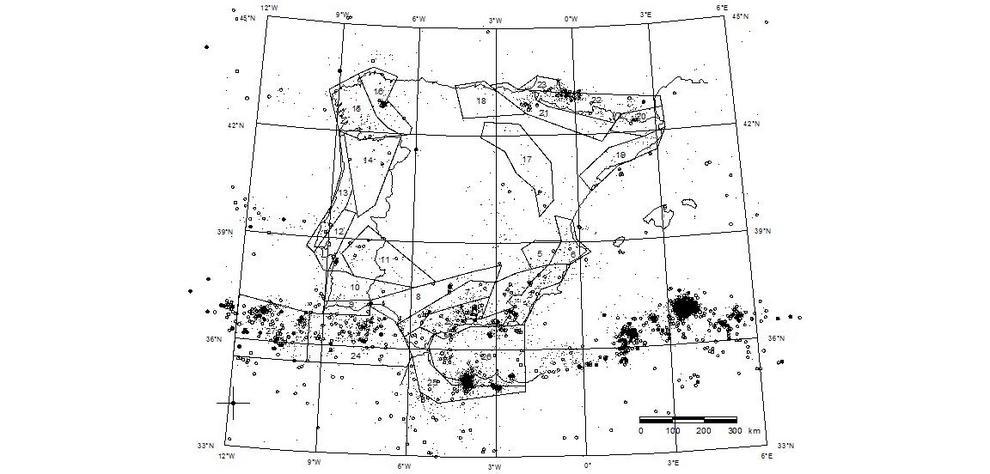Áreas sismogénicas de España y Portugal. El estudio se ha centrado en las áreas sismogénicas 26 y 27.