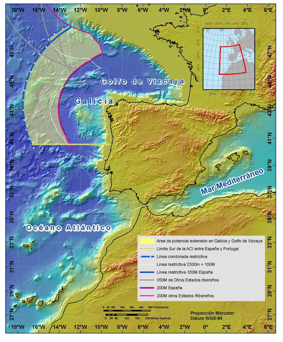 Límite exterior de la plataforma continental más allá de las 200 millas marinas en el área de Galicia.