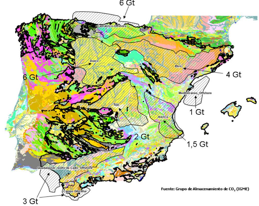 Regiones con rocas sedimentarias del Mesozoico y Cenozoico con formaciones sedimentarias porosas y permeables susceptibles de almacenar CO2 en el subsuelo. Se indica la capacidad teórica máxica de almacenamiento (en Gigatoneladas).