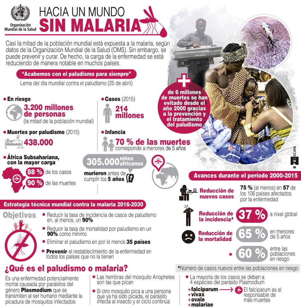 Infografía sobre la evolución de la malaria en el mundo. / Efe