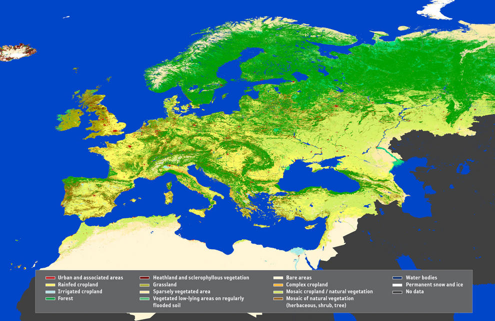 Este mapa GlobCorine es una cartografía paneuropea de cobertura y uso de la tierra, proporcionando una resolución de 300 m.