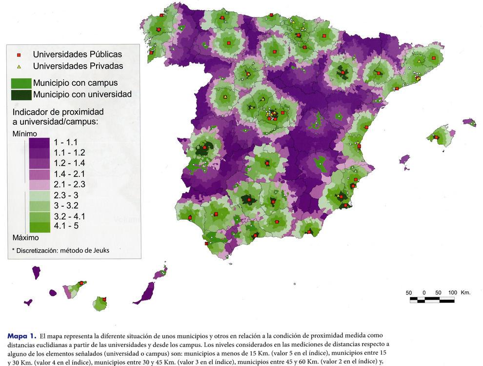 Universidades públicas y privadas y su ditribución en los municipios españoles.