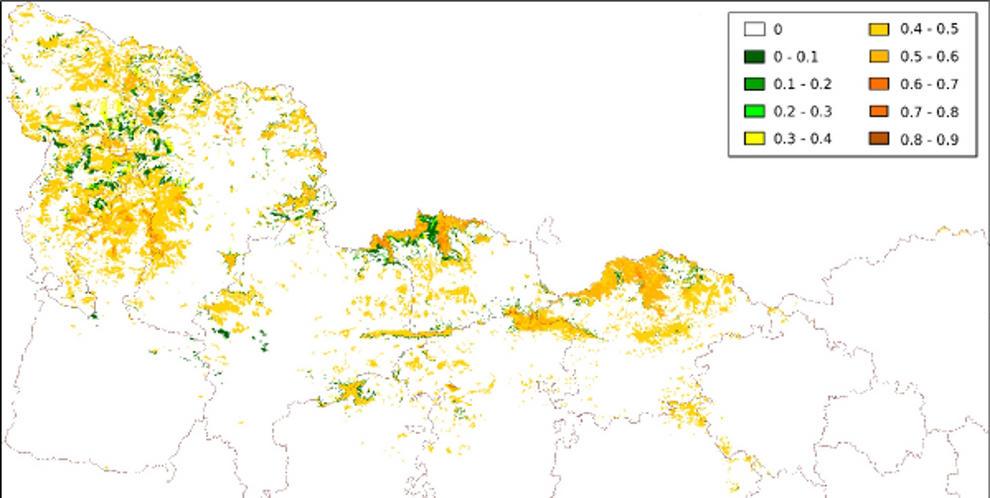Mapa de distribución potencial de la marmota alpina en el Pirineo catalán.