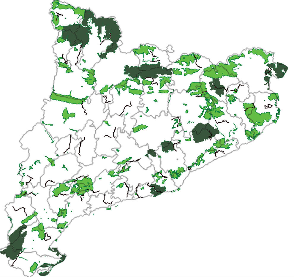 Localización de las áreas protegidas en Cataluña. Imagen: Universidad de barcelona