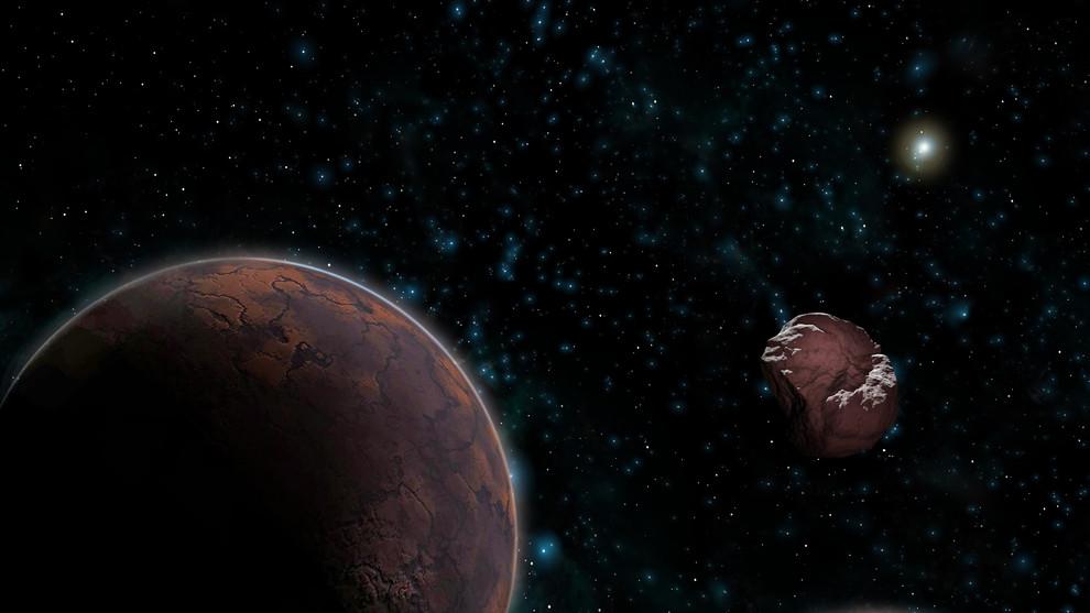 Los movimientos de los objetos transneptunianos (como el ilustrado a la derecha) sugieren que en los confines del sistema solar existe un planeta desconocido (izquierda). / José Antonio Peñas (Sinc)