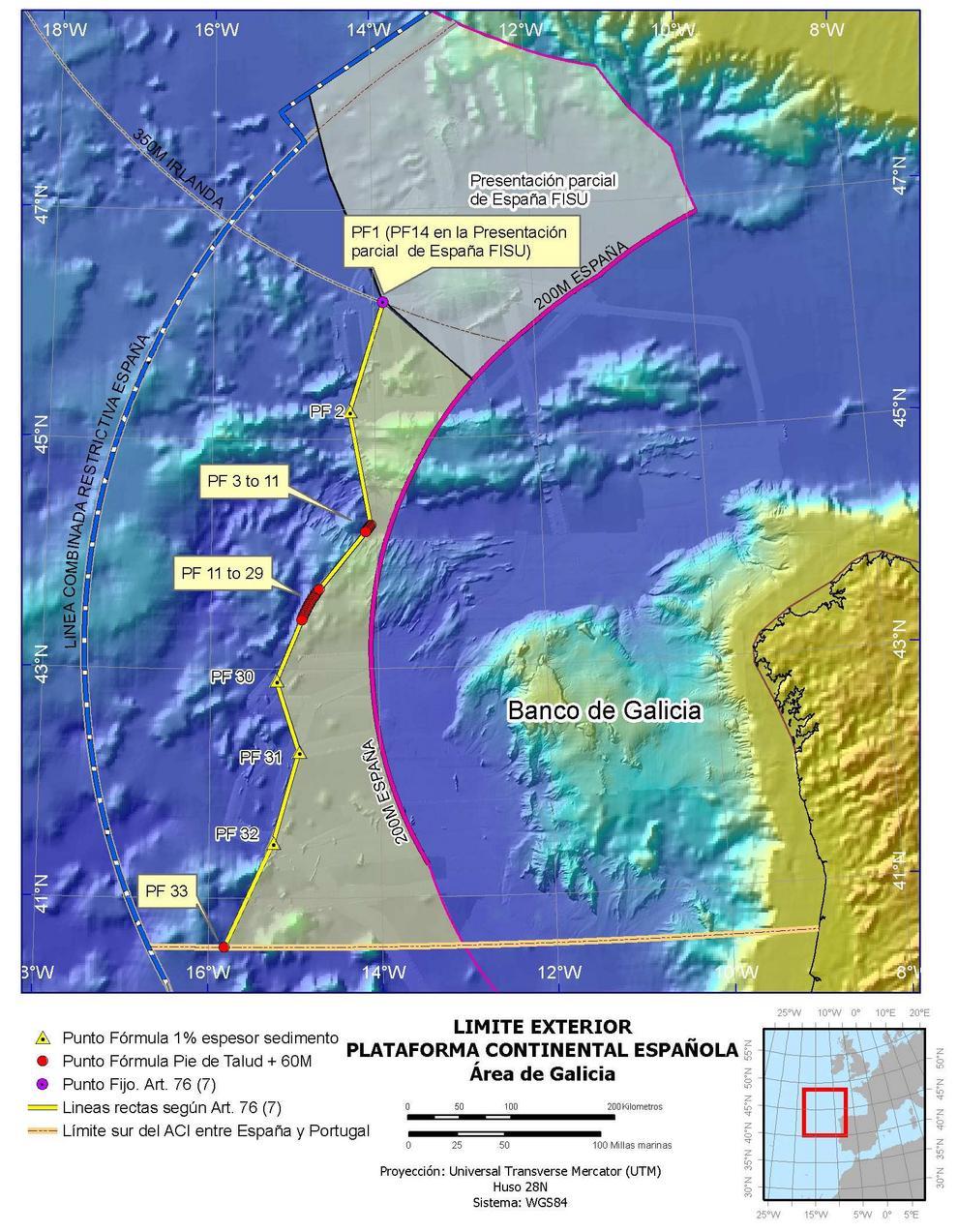 Límite exterior de la plataforma continental más allá de las 200 millas en el área de Galicia.