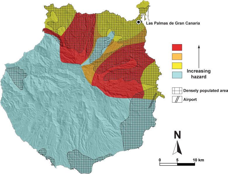 Mapa de riesgos volcánicos en Gran Canaria.