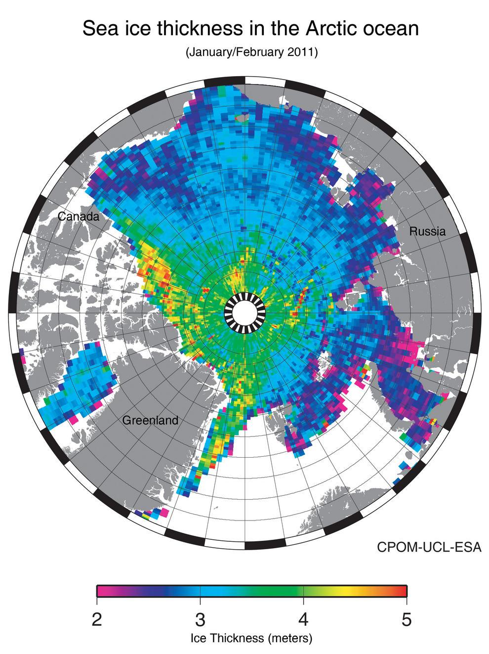 Mapa del espesor del hielo ártico.