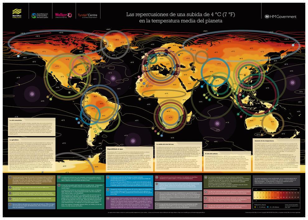 El mapa muestra las consecuencias que podrían producirse al no reducir en dos grados el aumento de temperaturas.