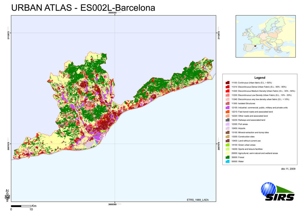 Atlas urbano de la ciudad de Barcelona. Por ahora se han realizado los atlas de Valencia, Sevilla, Zaragoza, Las Palmas, Valladolid, Bilbao, Córdoba, Vigo, Gijón y Barcelona.