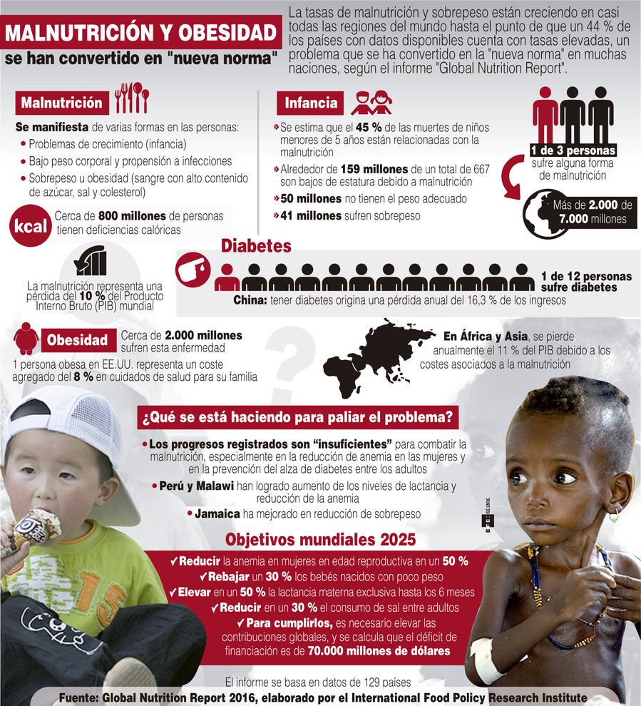 Infografía realizada a partir de los datos delGlobal Nutrition Report. /Efe