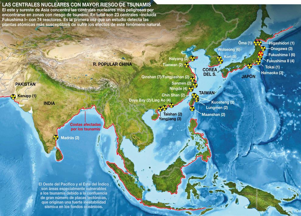 Mapa de las centrales nucleares con mayor riesgo de tsunami.