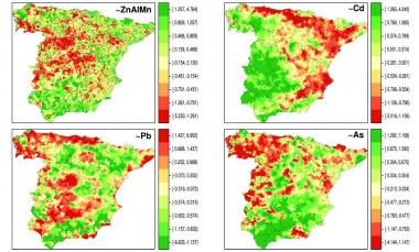 <p>Spatial distribution of the composition of metals in soil in the Spanish municipalities of the Iberian Peninsula, specifically, zinc (Zn), aluminum (Al), manganese (Mn), cadmium (Cd), lead (Pb) and arsenic (As) . / Credit: <em>G. López-Abente et al./ EnvironSciPollut Res Int.</em></p>