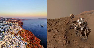 <p>On the island of Santorini, basaltic rocks similar to those located by the Curiosity rover in the crater Gale de Marte have been found. / Nextvoyage-Pixabay/NASA/JPL-Caltech/MSSS</p>