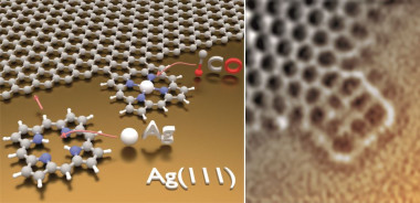<p>When the porphyrin molecule heats up it loses its outer-layer hydrogen atoms and can bond to the graphene sheet on a surface of silver. The resulting structure (illustrated and viewed under the microscope in these images) endows the graphene with new properties. / Credit: Yuanqin He - Technical University of Munich</p>