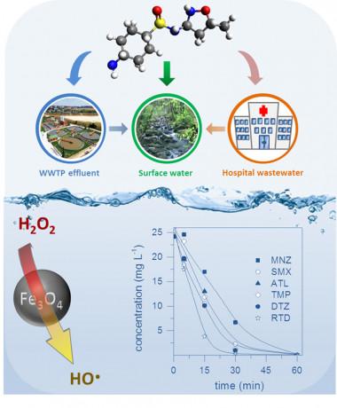 """<p class="""" text-left"""">El sistema se basa en la descomposición de peróxido de hidrógeno (también conocido como agua oxigenada, H<sub>2</sub>O<sub>2</sub>) en presencia de catalizadores de hierro para generar radicales hidroxilo (HO-), que oxidan una gran variedad de contaminantes orgánicos en aguas residuales de depuradoras, hospitales y ríos. / UAM</p>"""
