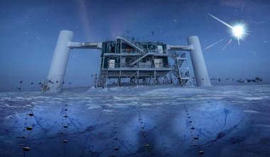 <p>Ilustración basada en una imagen real del IceCube Lab, con sus sensores esféricos (llamados DOM) bajo el hielo para detectar neutrinos. /IceCube/NSF</p>