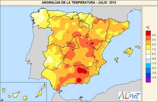 Julio 2015, el mes más cálido desde que existen datos