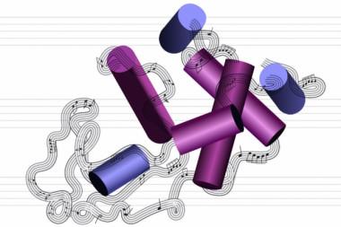 Recreación artística de la estructura de una molécula de proteína en un pasaje musical, como hace el sistema del MIT. /Christine Daniloff, MIT