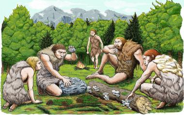 """<p/>Cinco neandertales de El Sidrón degustan setas, piñones y musgo. / Abel Grau (CSIC)"""" /><span style="""