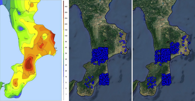 <p>Durante una prueba piloto cuando ocurrieron las inundaciones de Calabria (Italia) entre el 2 y 5 de octubre de 2018, la herramienta recopiló 14.347 tuits, los clasificó por relevancia y proporcionó datos de localización geográfica. En la imagen, comparación entre el mapa de precipitaciones y el mapa de tuits (según dos clasificadores diferentes: uno con datos etiquetados en alemán, inglés, español, francés y otro que, además, añade los tuits en italiano). / UPF</p>