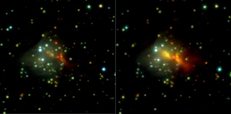 Un estallido estelar revela el mecanismo de formación de las estrellas masivas