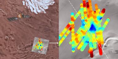 <p>El radar de la nave Mars Express ha sondeado la región Planum Australe de Marte, donde ha detectado un lago subglacial. La potencia de los ecos subsuperficiales se muestran con un código de color, donde el azul oscuro corresponde a las reflexiones más fuertes emitidas por una masa de agua líquida. / USGS Astrogeology Science Center, Arizona State University, INAF, ESA.</p>
