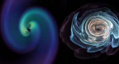 """Esta imagen de una visualización animada muestra la fusión de dos estrellas de neutrones en órbita. A la derecha, una visualización de la materia de las estrellas de neutrones. A la izquierda se muestra cómo se distorsiona el espacio-tiempo cerca de las colisiones. / Karan Jani, Georgia Tech.</p> <p>"""" /></p> <p style="""