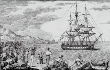 """<p>Corbeta María Pita zarpando de uno de los puertos del Caribe (1803-1804). / Grabado de Francisco Pérez <a href=""""http://www.bne.es/es/Micrositios/Exposiciones/America/resources/img/america_113_01_gr.jpg"""" target=""""_blank"""">(BNE)</a></p>"""